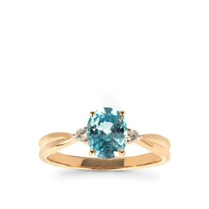 Ratanakiri Blue Zircon Ring with White Zircon in 10K Gold 1.97cts