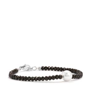 South Sea Cultured Pearl & Black Spinel Sterling Silver Graduated Bead Bracelet (9mm)