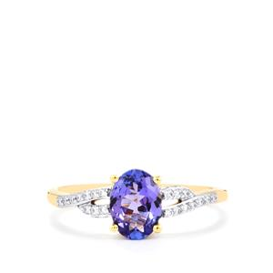 AA Tanzanite Ring with Diamond in 18k Gold 1.10cts