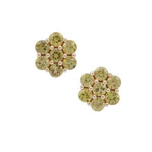Mansanite™ Earrings in 9K Gold 1.90cts