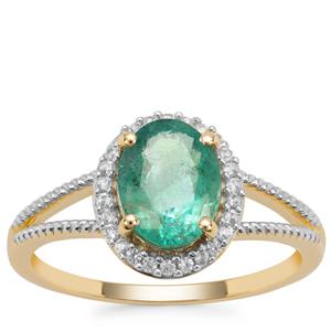 Zambian Emerald Ring with White Zircon in 9K Gold 1.88cts