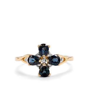 Nigerian Blue Sapphire & Diamond 9K Gold Ring ATGW 1.18cts