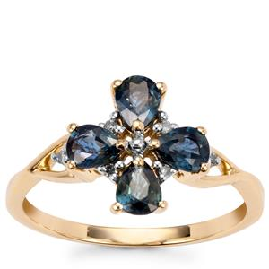 Nigerian Blue Sapphire Ring with Diamond in 10k Gold 1.18cts