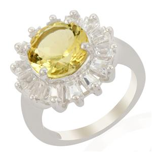 Citron Feldspar Ring with White Topaz in Sterling Silver 5.04cts
