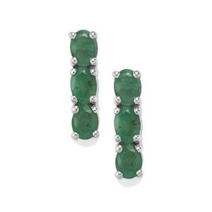 0.97ct Carnaiba Brazilian Emerald Sterling Silver Earrings
