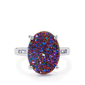 Violet Drusy & White Zircon Sterling Silver Ring ATGW 7.72cts