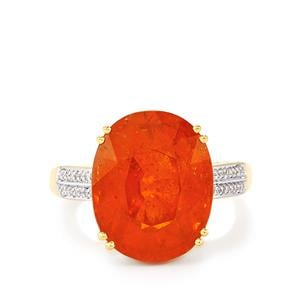 Tangerine Garnet Ring with Diamond in 18K Gold 13.83cts