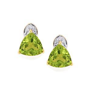 Changbai Peridot Earrings with Diamond in 9K Gold 3.92cts