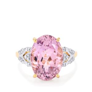 Mawi Kunzite Ring with Diamond in 18K Gold 7.73cts