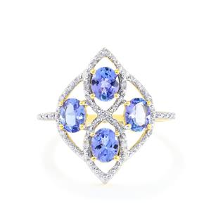 AA Tanzanite Ring with Diamond in 10k Gold 1.37cts