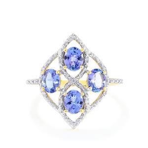 AA Tanzanite & Diamond 10K Gold Ring ATGW 1.37cts