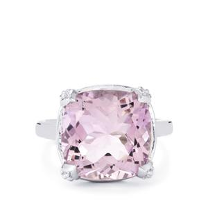 Rose De France Amethyst & White Topaz Sterling Silver Ring ATGW 8.06cts