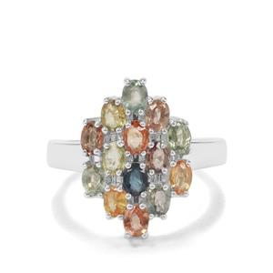 3.43ct Songea Multi Sapphire Sterling Silver Ring