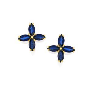Sri Lankan Sapphire Earrings in 10k Gold 2.28cts