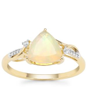 Ethiopian Opal Ring with White Zircon in 9K Gold 1.05cts
