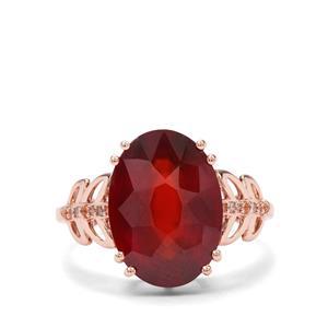 Gooseberry Grossular Garnet & Champagne Diamond 9K Rose Gold Ring ATGW 6.70cts