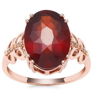 Gooseberry Grossular Garnet Ring with Champagne Diamond in 9K Rose Gold 6.70cts