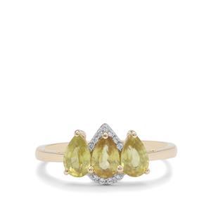 Ambilobe Sphene & White Zircon 9K Gold Ring ATGW 1.40cts