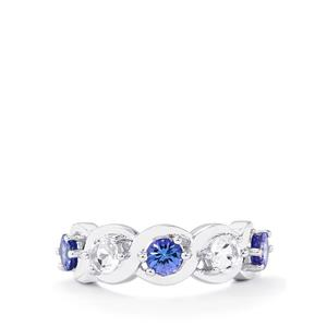AA Tanzanite & White Topaz Sterling Silver Ring ATGW 1.79cts