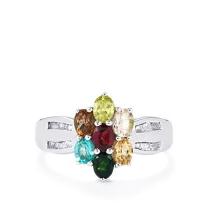 Kaleidoscope Gemstones Ring in Sterling Silver 1.41cts