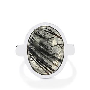 São Paulo Tourmalinated Quartz Ring in Sterling Silver 10cts