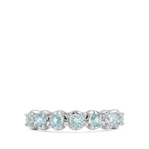 1.28ct Ratanakiri Blue Zircon Sterling Silver Half Eternity Ring