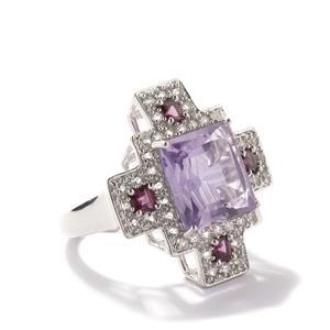 Secret Cross Pink Amethyst, Rhodolite Garnet & White Topaz Sterling Silver Ring ATGW 9.70cts