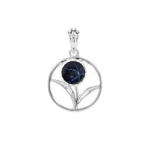 2.20ct Madagascan Blue Star Sapphire Sterling Silver Pendant