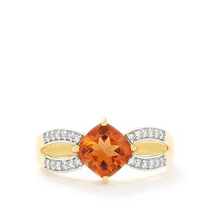Oregon Sunstone & Diamond 18k Gold Tomas Rae Ring MTGW 1.54cts