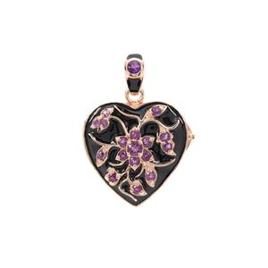 Amethyst Locket in Rose Gold Plated Sterling Silver 0.70ct