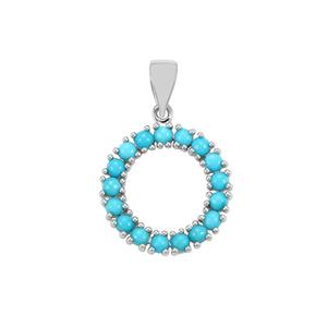 Sleeping Beauty Turquoise Pendant in Sterling Silver 2.10cts