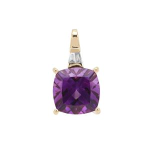 Moroccan Amethyst Pendant with Diamond in 18K Gold 6.43cts