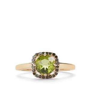 Changbai Peridot Ring with Green Diamond in 9K Gold 1.25cts