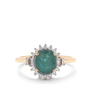 Grandidierite Ring with Diamond in 18K Gold 1.71cts