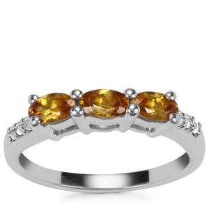Morafeno Sphene Ring with White Topaz in Sterling Silver 0.85ct