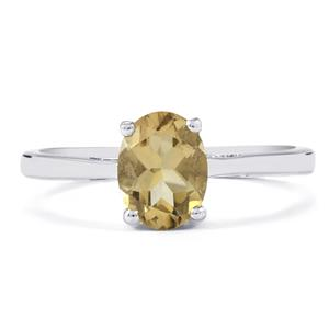 1.05ct Bolivian Natural Champagne Quartz Sterling Silver Ring