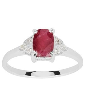Luc Yen Ruby Ring with White Zircon in Sterling Silver 1.35cts