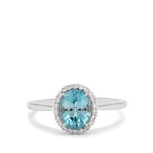 2.52ct Ratanakiri Blue & White Zircon 9K White Gold Ring