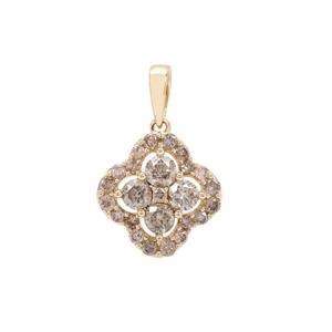 Cape Champagne Diamond Pendant in 9K Gold 1cts