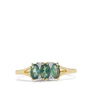 Alexandrite Ring with Diamond in 10K Gold 0.84ct