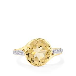 Champagne Danburite & White Zircon 9K Gold Ring ATGW 3.96cts