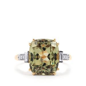 Csarite® & Diamond 18K Gold Lorique Ring MTGW 6.27cts