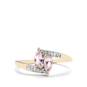 Imperial Pink Topaz Ring with White Zircon in 10k Gold 0.61cts