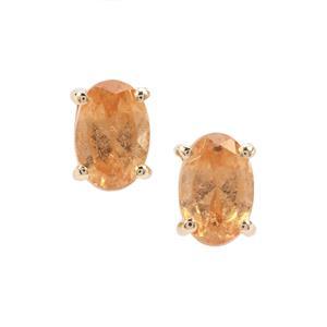 1.15ct Imperial Garnet 9K Gold Earrings