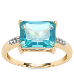 Batalha Topaz Ring with Diamond in 10k Gold 3.84cts