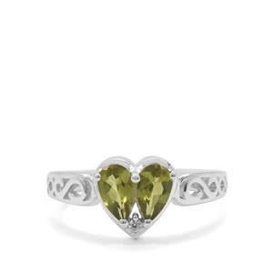 Vesuvianite & White Zircon Sterling Silver Ring ATGW 1.17cts