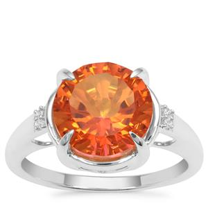 Padparadscha Quartz Ring with White Zircon in Sterling Silver 3.67cts