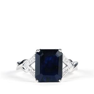 Madagascan Blue Sapphire Ring with White Topaz in Sterling Silver 5.82cts