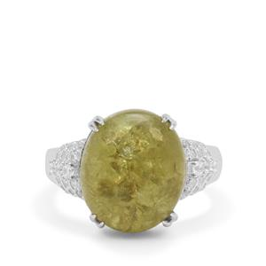 Grossular Ring with White Zircon in Sterling Silver 11.70cts
