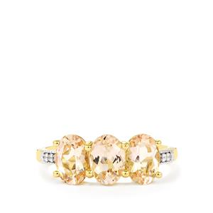 Rose Danburite & White Zircon 9K Gold Ring ATGW 2.35cts